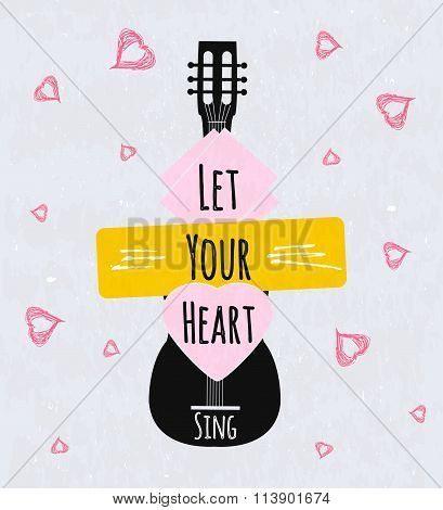 Colorful Typographic Motivational Poster For Music Schools And Institutions. Heart Sings. Vector