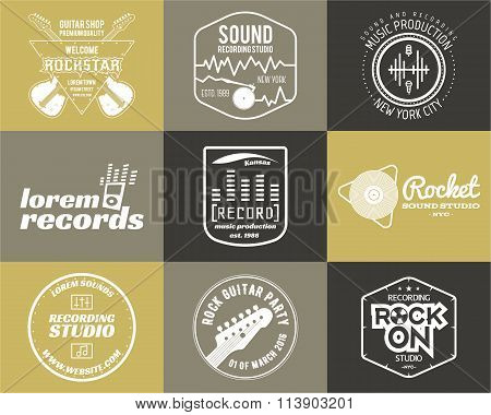 Set of vector music production logo Musical label icons. Music sticker and emblem, print or logotype
