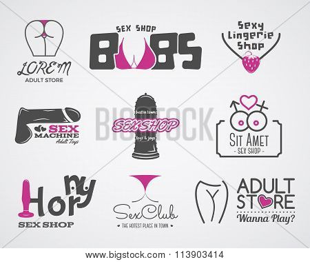 Collection of cute Sex shop logo and badge design templates. Sexy labels set. Vector xxx elements. A