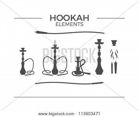 Set of shilhouette Hookah design elements. Use for labels, badges. Vintage shisha logo symbols. Loun