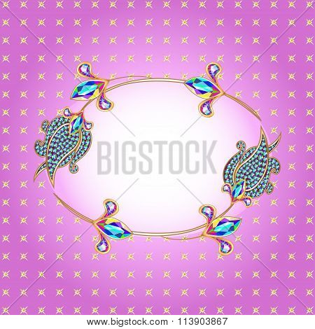 illustration background frame with gold and precious stones