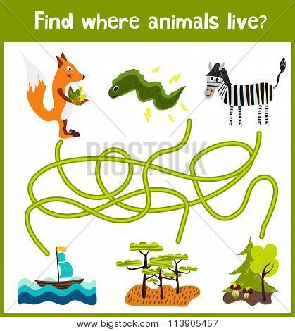 Fun And Colorful Puzzle Game For Children's Development Find Where A Zebra, A Fox And An Electri