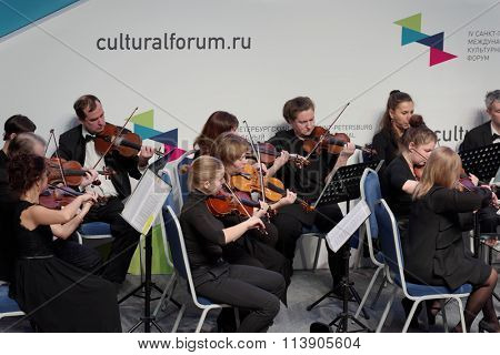 ST. PETERSBURG, RUSSIA - DECEMBER 16, 2015: Symphony Orchestra of St. Petersburg perform at the creative meeting during the 4th St. Petersburg International Cultural Forum