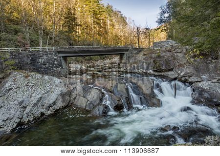 Bridge Over A Cascading Stream In Autumn - Tennessee