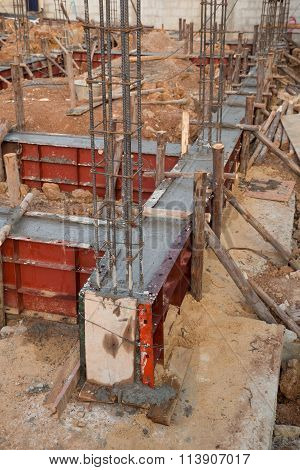 Pillar And Beam Being Constructed At Construction Site