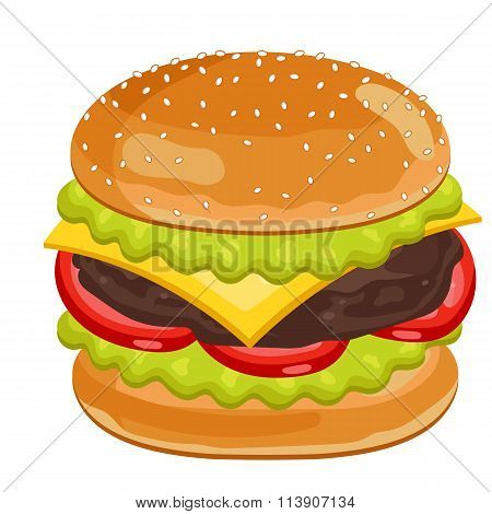 Burger on white background.