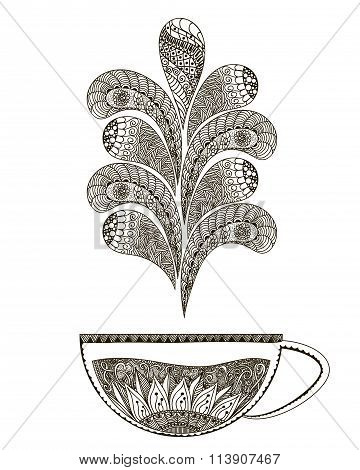 Hand Drawn Illustration Black And White Doodle Art. Page With Hot Tea For Coloring Books For Adults