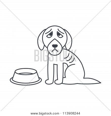 Poor hungry dog line icon