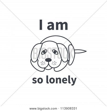 Sad lonely dog line icon