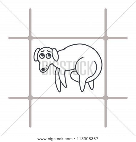 Frightened dog  in cage line icon