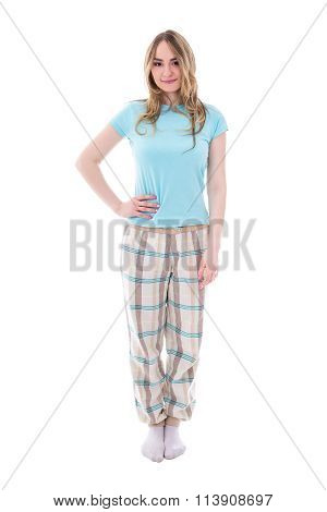 Young Beautiful Woman In Pajamas Isolated On White