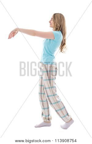 Sleepwalking Woman Isolated On White Background