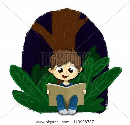 Boy sitting reading a book at night
