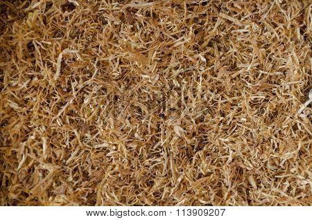 Dried Smoking Tobacco Close-up Macro View