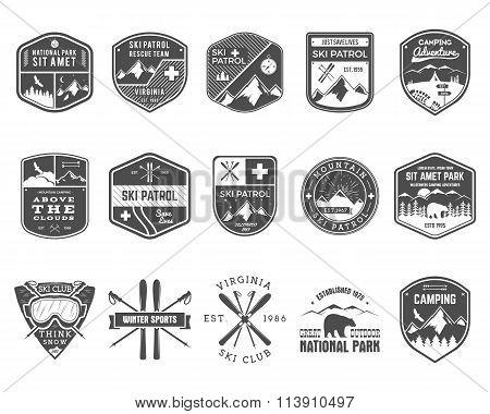 Set of Ski Club, Patrol Labels. Vintage Mountain winter camp explorer badges Outdoor adventure logo