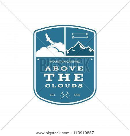 Vector Travel Label. Vintage Mountain winter or summer camp explorer badge. Outdoor adventure logo d