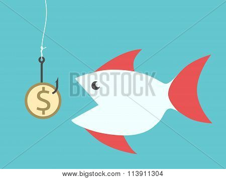 Fish Eating Dollar Bait