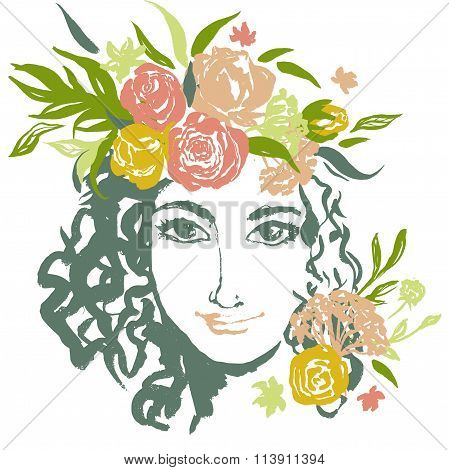 Grunge floral vector girl portrait with hand drawn flowers.