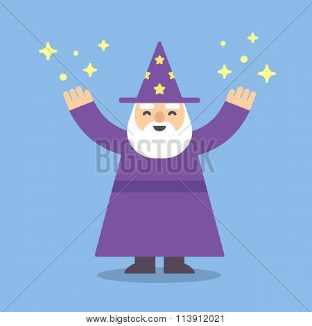 Cartoon Wizard Flat Illustration