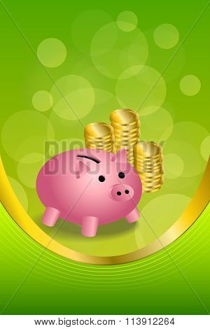 Background abstract green gold pink pig moneybox money coin vertical frame illustration vector