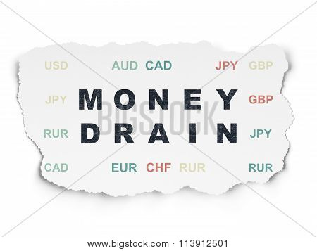 Banking concept: Money Drain on Torn Paper background