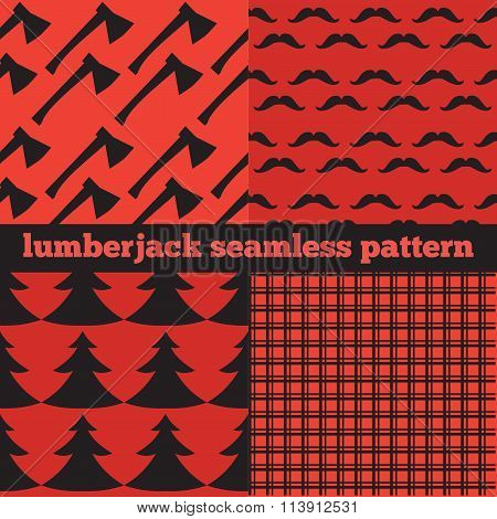 Set Of Vintage Lumberjack Backgrounds, Trendy Hipster Buffalo Check ,tartan And Gingham Patterns