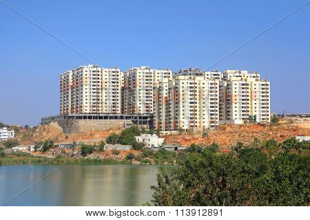 New high rise apartment building constructions in  India