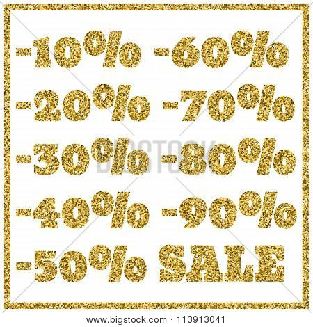 Gold Glitter Sale On White Background. Gold Sale Background