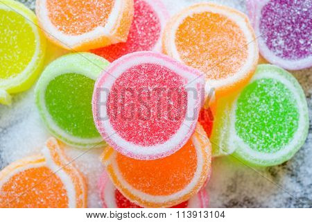 Jelly Sweet, Flavor Fruit, Candy Dessert Colorful On Sugar.