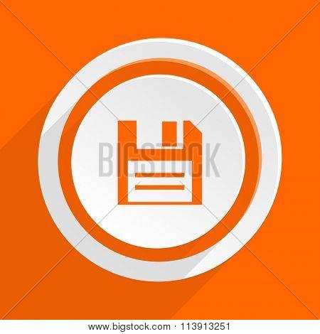 disk orange flat design modern icon for web and mobile app