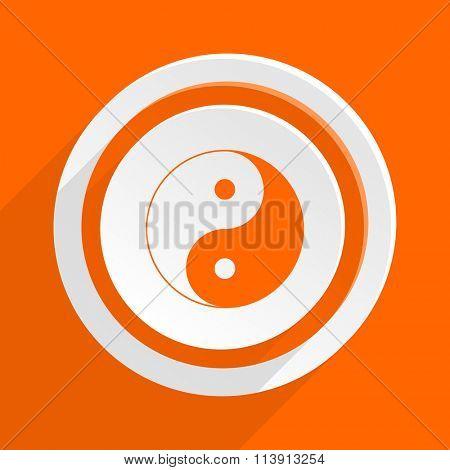 ying yang orange flat design modern icon for web and mobile app