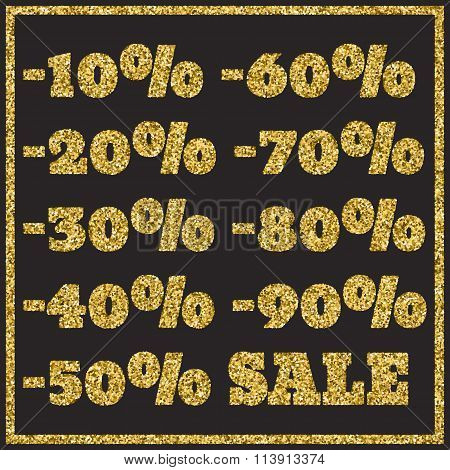 Gold Glitter Sale On A Black Background. Gold Sale Background For Flyer, Poster, Shopping, For Sale