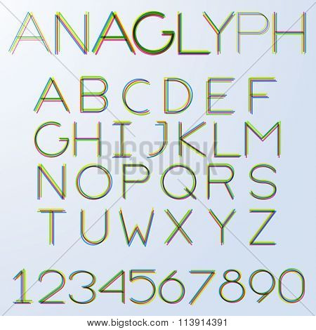 Anaglyph hairline alphabet (uppercase). No fill, strokes only, easy to tune line weight.