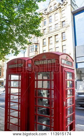 Two Traditional Old  Red Telephon Booth In  The Central London