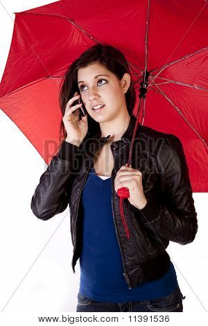 Woman On Phone Looking Up Umbrella
