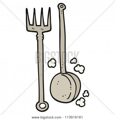 freehand drawn cartoon old fireside tools