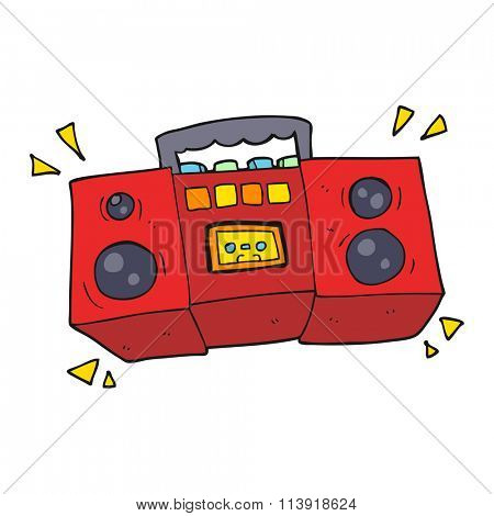 freehand drawn cartoon cassette tape player