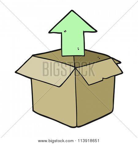 freehand drawn cartoon unpacking a box