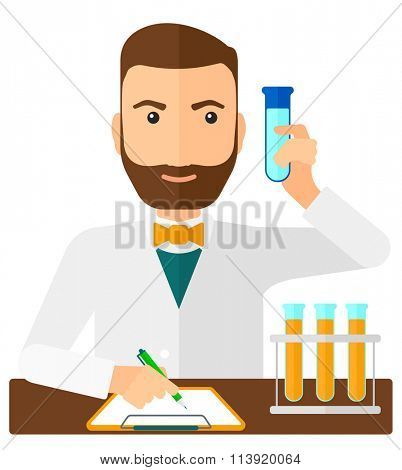 Laboratory assistant working.