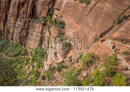Hikers On The Switchbacks Of Angels Landing In Zion National Park