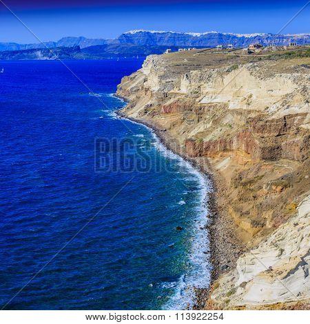 The cliffs on the island of Santorini, Greece