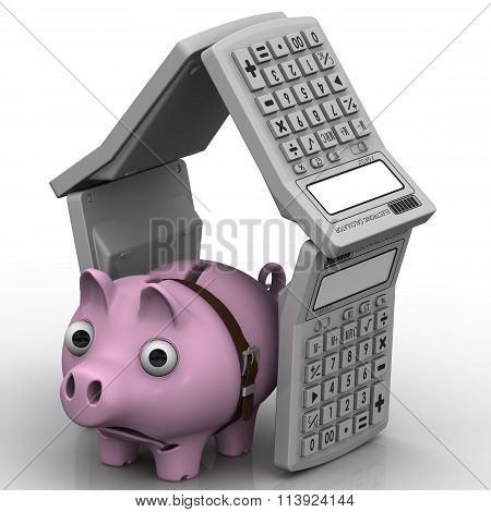 Sad pig-piggy bank in the house of electronic calculators
