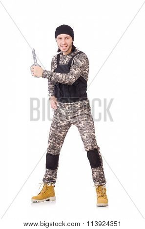 Young man in military uniform holding knife isolated on white