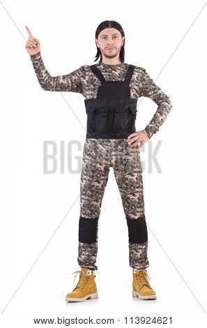 Young man in military uniform isolated on white