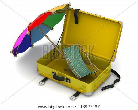 Open suitcase with beach umbrella and sun loungers
