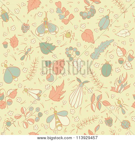 Colorful doodles Beetles Ants Butterflies Berries foliage and needles