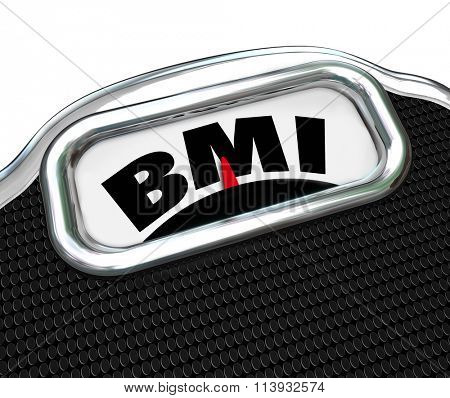 BMI acronym for Body Mass Index measurement on a scale to evaluate or test your fitness level