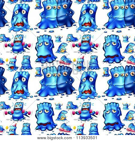 Seamless blue monster doing activities illustration