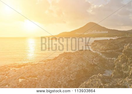 Sunset. Coral coast line at Kenting National Park, Taiwan, Asia.