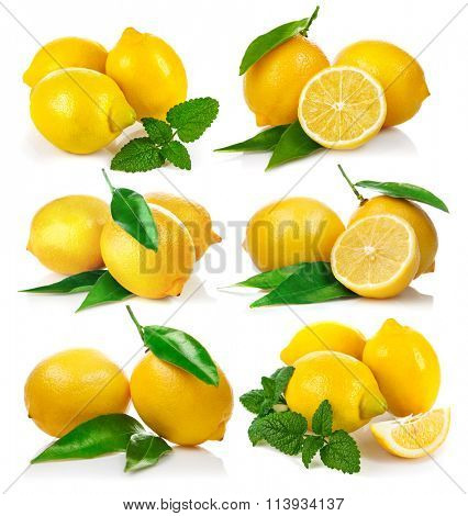 Set fresh lemon with green leaf mint. Isolated on white background